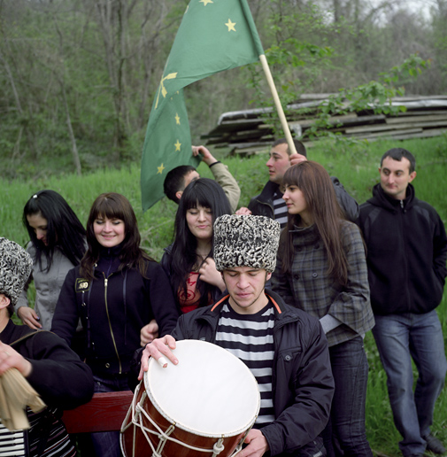 Dzhegu, a traditional Circassian youth party with dance and entertainment always accompanied with the green star-and-arrowed Circassian flag – an important element of the reemerging Circassian identity. Leaders of Circassian national movements in Russia and Diaspora rely on the younger generation, free, they believe, from the Soviet-nurtured fear and indifference. ASHE/SOCHI, RUSSIA, MAY 2009