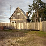 Fenced wooden house with pines