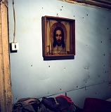 An icon of Christ in Andrei Perets' home.