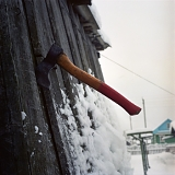 Axe and snow