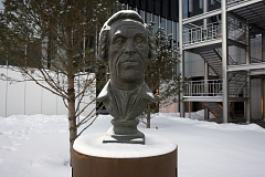 A bust of Vitus Bering, a 18-century officer of the Russian Navy of Danish origin, a cartographer and explorer of Northeastern Siberia and Alaska, Skolkovo, Russia, January 2018