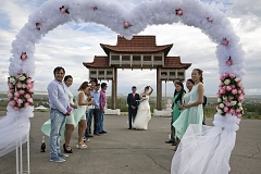 Choiganmaa, a journalist, and Shoraan Kuular, a stock farmer, celebrate their wedding with friends at a symbolic gateway to Tuva outside the capital Kyzyl where its future railway station is supposed to sit. Tuva was a vassal of the Chinese Qing Empire until 1912 and the Chinese influence, although largely forgotten, can still sometimes spring up in new landmarks such as this one.