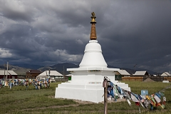 A Buddhist stupa in Kaa-Khem, a suburb of Kyzyl. After Tuva has formally joined the Soviet Union in 1944, all monks were arrested and temples completely destroyed to help Communist ideology take hold instead. After the breakup of the Soviet Union, Buddhism has seen a controversial revival in Tuva, marred by expulsions of popular foreign preachers and tight control on the part of the government.