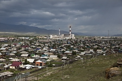 Eastern outskirts of the Tuvan capital Kyzyl with a Soviet-era unfinished power station towering over it. Lack of power generation capacity causes frequent power outages both in the capital and rural areas. Of Russia's 83 regions, Tuva is the worst economic performer largely relying on federal subsidies.