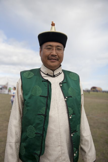 Igor Koshkendey, a prominent Tuvan throat singer and musician, attends the yearly farmers' festival Naadym as part of the Best Yurt contest jury. Tos-Bulak, Tuva, Russia.