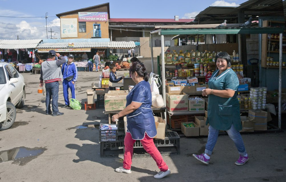 This wholesale market in Kyzyl still looks like such places looked all over Russia in early 1990s when market reforms began.