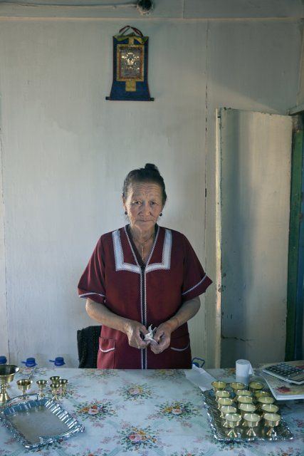 Iraida Baldyr, a retied nursery teacher, now serving as housekeeper at Buddhist sanctuary Sunrap Gyatsoling in Erzin near the Mongolian border