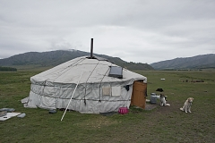 A yurt owned by Bandan family in the remote and hard-to-get Kachyk area in southeastern Tuva; a solar panel is visible on the roof.