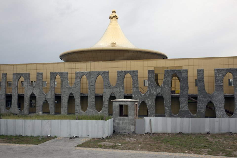 An unfinished new wing of the National Museum of Tuva; its construction faltered due to lack of funds