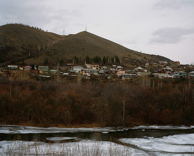 Outskirts of Krasnoyarsk, village of Bazaikha and Bazaikha River