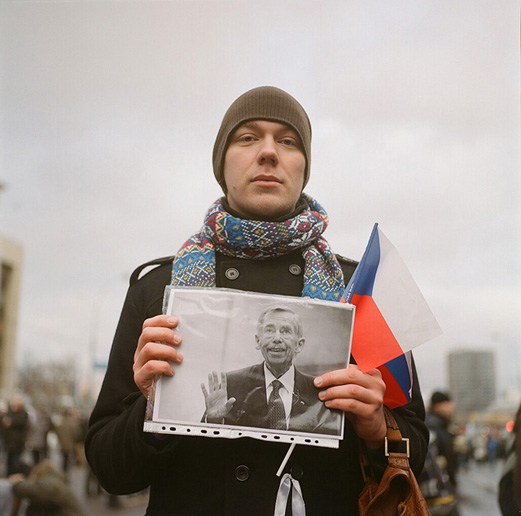 Maxim, programmer, with a photo of late Czech president and former dissident Vaclav Havel