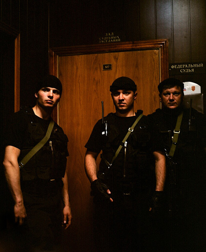 Special task force guarding the courtroom where the Pussy Riot case is being heard in Tagansky district court on July 4, 2012