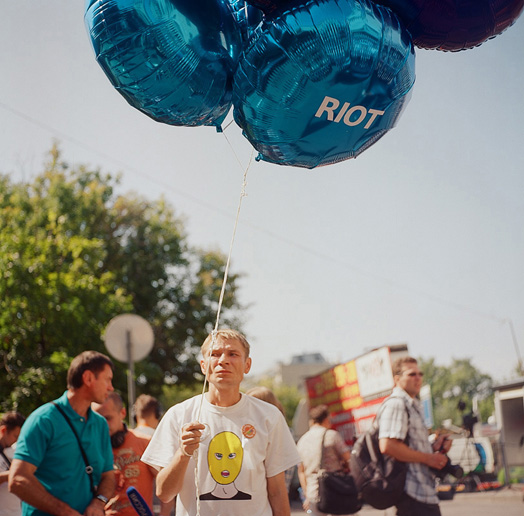 A supporter of Pussy Riot with balloons, July 30, 2012