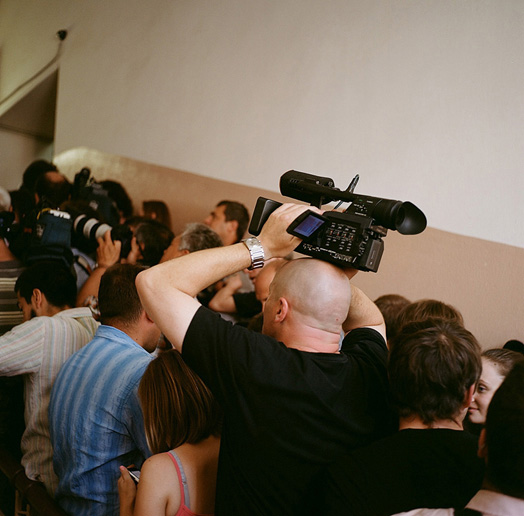 Members of the media waiting to enter the courtroom at Khamovnichesky district court, July 30, 2012